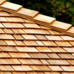 Layers of cedar shingles on a roof